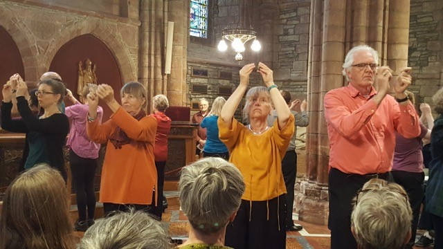 Stone Sounds performance in St Magnus Cathedral: photo Linda Leroy