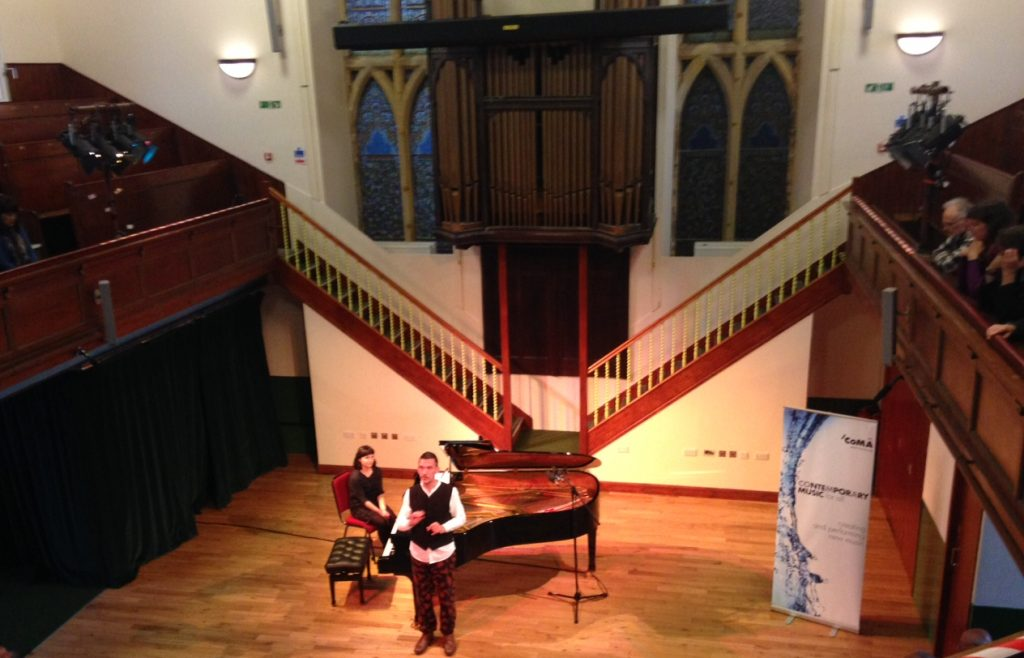 Rolf Hind performing in a tribute to Peter Maxwell Davies in  Stromness Town Hall: photo Mick Kahn